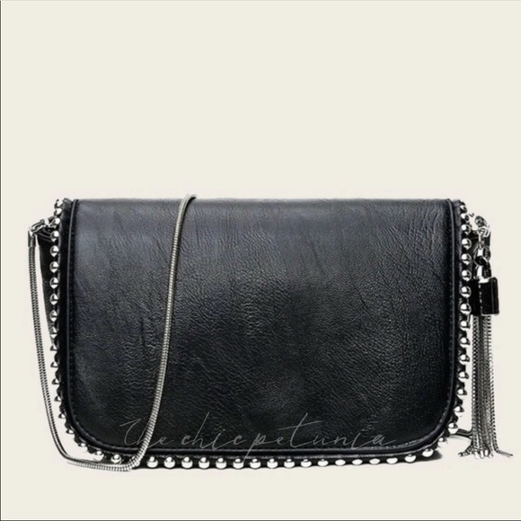 The Chic Petunia Handbags - Metal tassel beaded chain crossbody leather bag